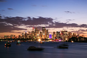 Business-travel Framed Prints - Sydney skyline at dusk Australia Framed Print by Matteo Colombo