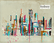 Sydney Skyline Digital Art Prints - Sydney skyline  Print by Brian Buckley