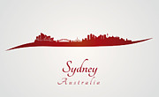 Sydney Skyline Framed Prints - Sydney skyline in red Framed Print by Pablo Romero