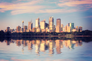 Sydney Skyline Prints - Sydney Skyline Sunrise Square Australia Print by Colin and Linda McKie
