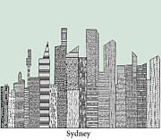 Sydney Skyline Digital Art Prints - Sydney skyline vintage  Print by Brian Buckley