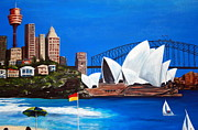 Lyndsey Hatchwell Art - Sydneyscape - featuring Opera House by Lyndsey Hatchwell