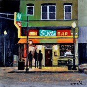 Town Square Painting Posters - Syds Bar Poster by John  Reynolds