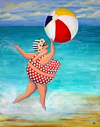 Bathing Suit Posters - Sylvia at the Beach Poster by Stephanie Troxell