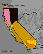 California State Map Digital Art - Symbol of California - California Dogface Butterfly by Regina Iakushova