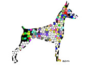 Symetry In Doberman Print by Maria C Martinez