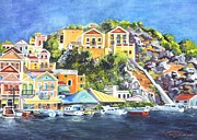 Water Reflections Drawings Framed Prints - Symi Harbor The Grecian Isle  Framed Print by Carol Wisniewski