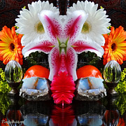 House Digital Art Originals - Symmetric life. Flowers. 2013 80/80 cm.  by Tautvydas Davainis