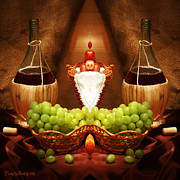 Signed Digital Art Posters - Symmetric still life. Two bottles of red wine. 2013 80/80 cm.  Poster by Tautvydas Davainis