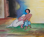 Sympathy Drawings Metal Prints - Sympathy Metal Print by Shafiq-ur- Rehman