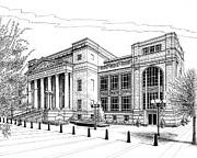 Landscape Framed Prints Drawings Prints - Symphony Center in Nashville Tennessee Print by Janet King