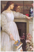 Woman In A Dress Metal Prints - Symphony in White No 2 The Little White Girl Metal Print by James Abbott McNeill Whistler