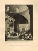 Synagogue Drawings - Synagogue of the Jews Jerusalem 1886 Engraving with border by Antique Engravings