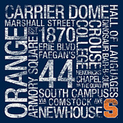 Bus Scrolls Photo Posters - Syracuse College Colors Subway Art Poster by Replay Photos