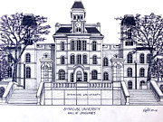 Famous University Buildings Drawings Art - Syracuse University by Frederic Kohli
