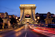 Historic Statue Posters - Szechenyi Chain Bridge in Budapest at Night Poster by Artur Bogacki