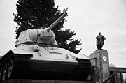 Berlin Germany Prints - T-34 tank at the soviet war memorial tiergarten Berlin Germany Print by Joe Fox