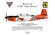 Naval Aviation Posters - T-34C Turbo Mentor Marines VT-28 Poster by Arthur Eggers
