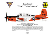 Naval Aviation Posters - T-34C Turbo Mentor VT-28 Poster by Arthur Eggers