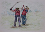 Golf Pants Prints - T- It - Up Print by Suzanne Macdonald