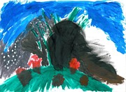 Extinct And Mythical Pastels Originals - T-Rex Volcano by Jacques Retief