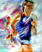 Marathon Painting Originals - T2... Run with your Inner Child by Sandy Ryan