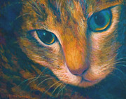 Macro Pastels Framed Prints - Tabby Cat Framed Print by Becky Roesler