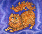 Kitten Paintings - Tabby Cat Playing by Linda Mears