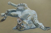 Cute Cat Pastels Prints - Tabby Cat Print by Vivienne Lewis