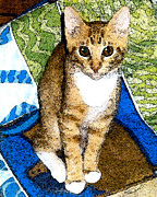 Cat Portraits Mixed Media Prints - Tabby In Quilts Print by Elia Peters