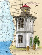 Eureka Paintings - Table Bluff LIghthouse CA Nautical Chart Map Art Cathy Peek by Cathy Peek