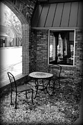 Patio Table And Chairs Posters - Table for Two bw Poster by Elizabeth Sullivan