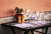 Wine Galleries Prints - Table for Two in Marseille Print by John Rizzuto