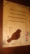 Prayer Pyrography Posters - Table Grace Poster by Dakota Sage
