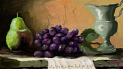 Bunch Of Grapes Digital Art Posters - Table Grapes Poster by Sandra Aguirre