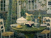 Plates Paintings - Table laden for spring by Henry Eugene Le Sidaner
