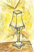 White Walls Mixed Media Framed Prints - Table Lamp Framed Print by Teresa White