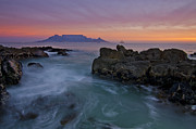 Seascape.scenic Framed Prints - Table Mountain Sunset Framed Print by Aaron S Bedell