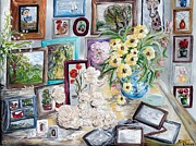 Still Life Photographs Painting Posters - Table of an Art Enthusiast Poster by Eloise Schneider