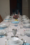 White Cloth Prints - Table set for a Jewish Festive meal Print by Ilan Rosen