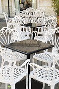 Table Photos - Tables at an outdoor cafe by Oscar Gutierrez
