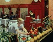 Clock Painting Framed Prints - Tables for Ladies Framed Print by Edward Hopper