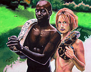 Nude Couple Pastels - Taboo in the Garden by Andre Ajibade
