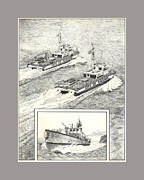 Major Drawings Framed Prints - Tacoma Fireboats New and Old Number 1 Framed Print by Jack Pumphrey