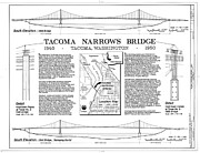 Galloping Gertie Prints - Tacoma Narrows Bridge HABS p1 Print by Photo Researchers