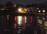 Ruston Prints - TACOMA WATERFRONT at NIGHT ON RUSTON WAY Print by Sadie Reneau