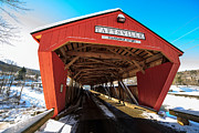 Taftsville Metal Prints - Taftsville Covered Bridge in Vermont in winter Metal Print by Edward Fielding