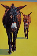 Burro Metal Prints - Tag Along Metal Print by Patricia A Griffin
