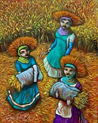 Rice Field Paintings - Tag-araw sa Tag-ulan by Paul Hilario