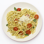 Italian Meal Posters - Tagliatelle with pesto and tomatoes from above Poster by Paul Cowan